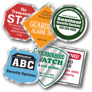Variety of custom clear security decals & stickers.
