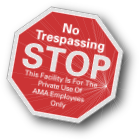 custom no trespassing property window decal on reflective vinyl