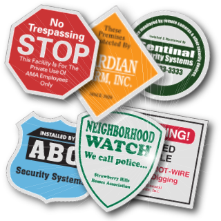 Variety of custom reflective security stickers & decals.