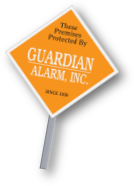 reflective diamond shaped alarm company outdoor sign