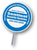 reflective round shaped custom security company sign